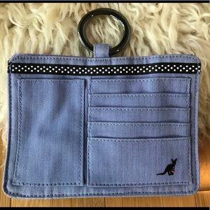 Cute blue canvas Pouchee purse organizer